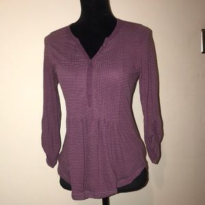 Free People purple pinstriped button-up blouse